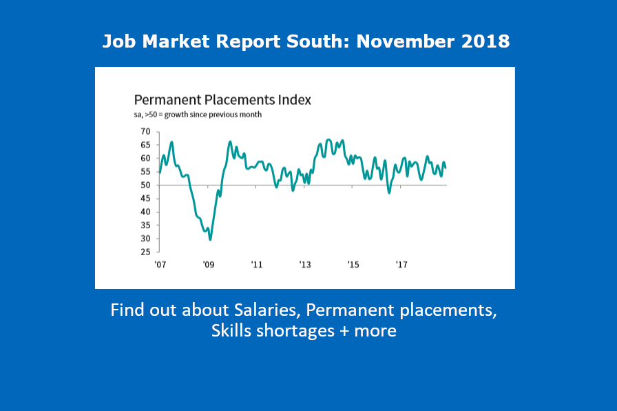 Get the latest stats on Permanent Placements in the South, Salaries and job skills shortages with our November Job Market Report